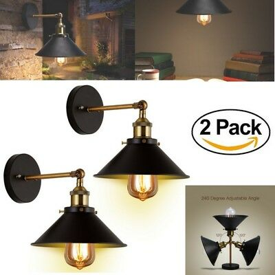2 x Wall Industrial Lamp Sconces Light Steel Vintage Retro Style Pendant Lantern
