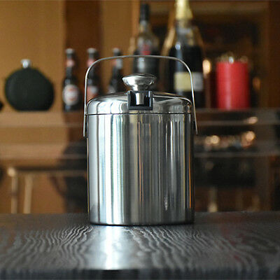Double Walled Stainless Steel Ice Bucket Wine Cooler With Tongs & Lid 1.3 Liter