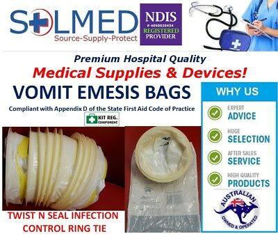 50 Sick Bags Vomit Bags Emesis Calibrated 1.5 Litre Infection Control Secure Tie