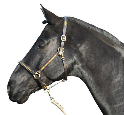 HKM Halter - Leather Brown Brass Clinkers Padded Head & Nose - Full - Imp Germ