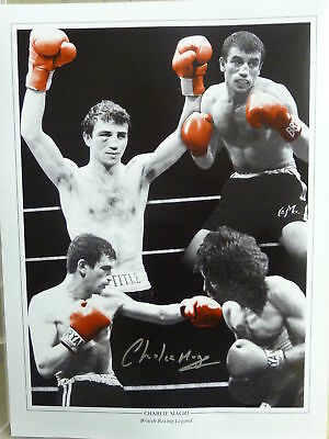 Charlie Magri Signed Boxing Large Photograph