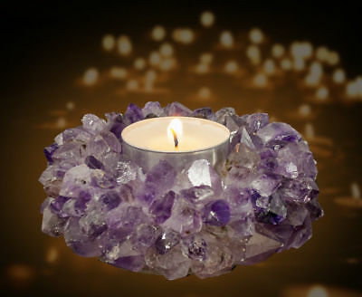 Tea Light Candle Holder Decor Crystal Amethyst Healing Reiki TeaLight Wedding