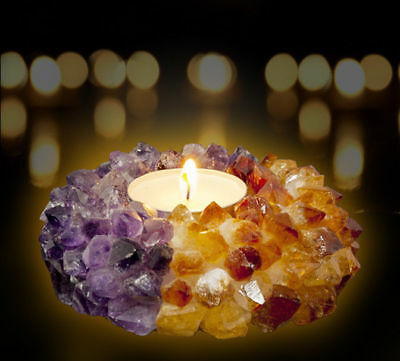 Tea Light Candle Holder Decor Crystal Amethyst & Citrine Reiki TeaLight Wedding