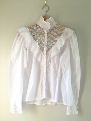 Amazing Vintage Vtg Cotton Victorian Style Lace Blouse Top Small