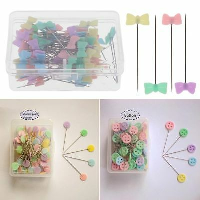 100pc Mixed Color Sewing Patchwork Pins Flower Head Pins Sewing Tool Needle Arts