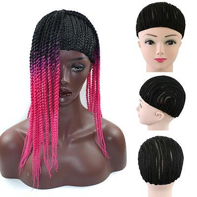 Black Cornrow Wig Cap for Making Braids with Elastic Band and Combs DL