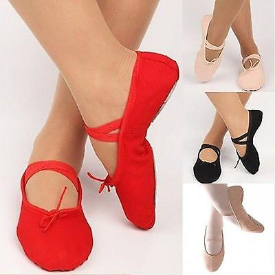 Adult Child Pure Color Canvas Soft Ballet Dance Shoes Pointe Gymnastics Slippers