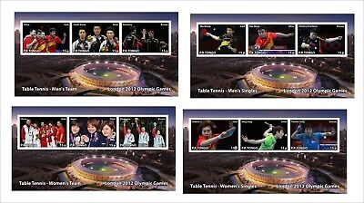 London 2012 Olympic Games  Table Tennis 4  Souvenir Sheets  Mnh Unperforated