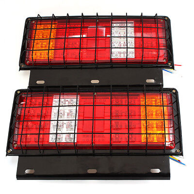 Pair 12V Rear Stop LED Lights Tail Indicator Lamp Trailer Truck CARAVAN 64 LEDS