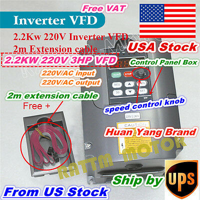 【USA Stock】 2.2KW Inverter VFD Variable Frequency Driver 220V 3HP Output 3 Phase