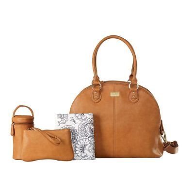 NEW Isoki Madame Polly Nappy Bag Changing Travel Diaper Organiser Handbag - Tan