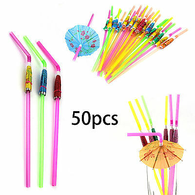 50X Cocktail Umbrella Drinking Straws Paper Parasol Tropical Hawaiian Hen Party