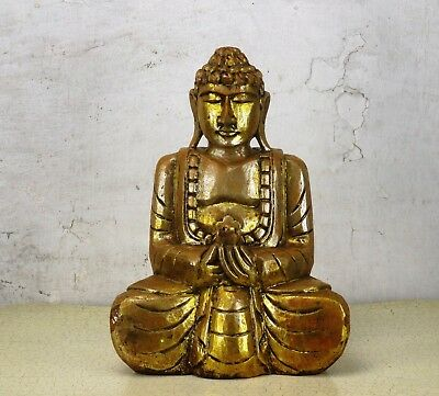 """Large Statue Sitting  Buddha Ornate Carved Wood Gold Paint  Temple  13.77"""""""
