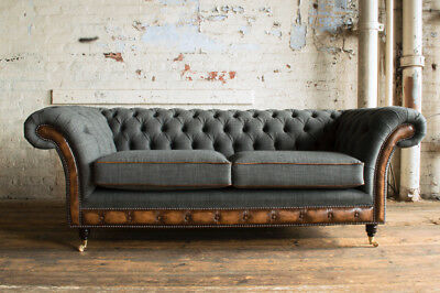 Modern Grey Wool & Antique Tan Leather 3 Seater Chesterfield Sofa Couch, Settee