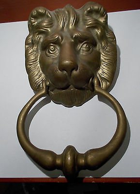 Antique Vintage Solid Thick Brass Ornate Lion Front Door Knocker M64