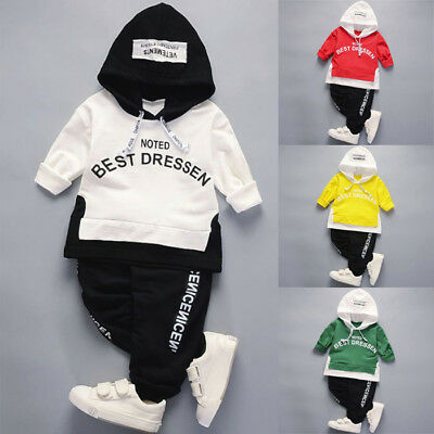 2PCS Newborn Toddler Baby Boy Hoodie Tops+Long Pants Tracksuit Outfit Clothes US