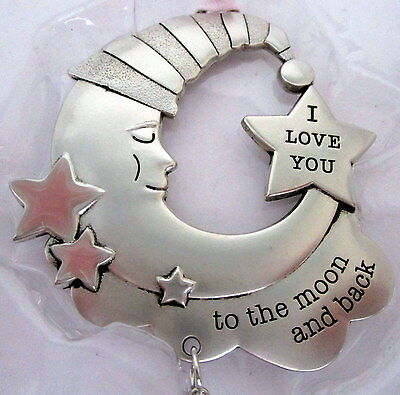 "Baby Keepsake Pink & Silver ""love You To The Moon & Back"" Hanging Ornament Bn"