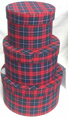 Set Of 3 Round Nested Gift Boxes Soft Tartan Fabric Christmas Pamper Present Box