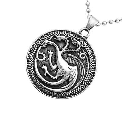 Vintage Game of Thrones Three-Heads Soaring Dragon Round Pendant Necklace