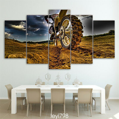 With Framed,Large Modern Abstract Print Wall Art  Home Decor,Motocross car 5pcs