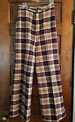 Vtg 1970s Ladies Plaid Wool High Waist Pants Bell Bottoms Belted Retro