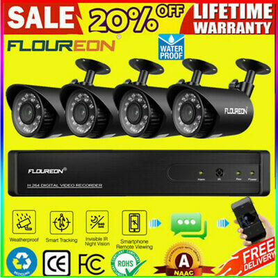 Floureon 4CH 1080P DVR CCTV Wireless IP Camera Outdoor Security System W/HDD
