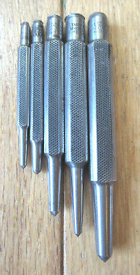 Starrett Set of (5) Square Shank Center Punches - U.S.A.