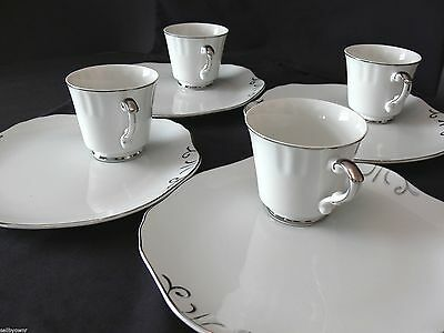 Jonas Roberts Snack Plate & Cup SET OF 4 Japan Platinum Trim Scalloped Rim (8pc)