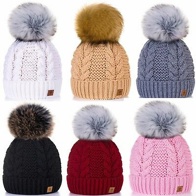 Girls Winter Beanie Hat Children Knitted Girl Hats Worm Kids Ski Large Pom Pom