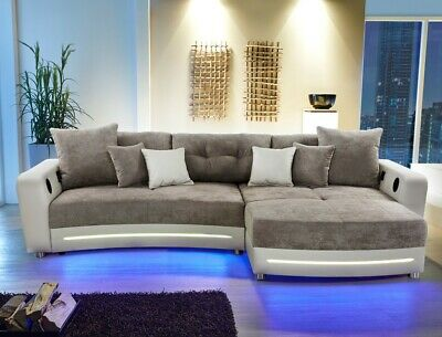 Sofa couch nova via ecksofa xl viper mit led und sound for Ecksofa xl nikita