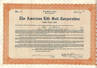 DELAWARE 1929, American Life Suit Corp Three Year Note Stock Certificate