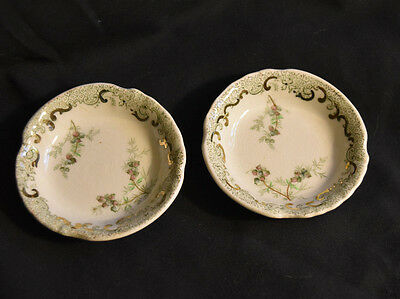 John Edwards Ironstone Butter Pats 2 Estrella Pattern Green Transferware Antique