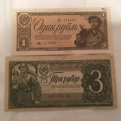 VINTAGE PAPER MONEY RUSSIA 1  and 3 Rub 1938 Year.