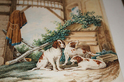 "Meister-Aquarell ""IRISH RED & WHITE SETTERS"", sign./dat.: ""Friz 14.5.1851"""