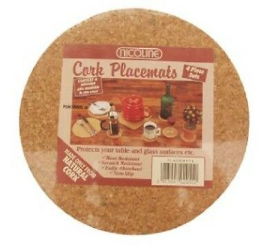 Natural Cork Placemats / Mats Pack of 4 Round 20cm diameter FREE DELIVERY