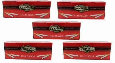 Golden Valley Red (Full Flavor) KING Size Cigarette Tubes - Lot Of 5 Boxes