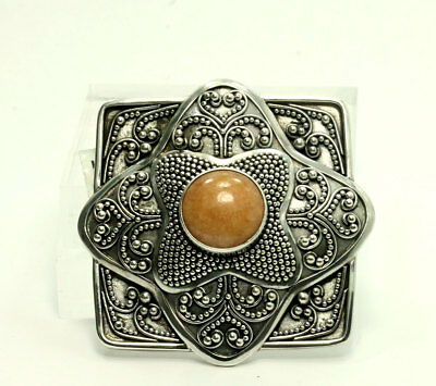 Vintage Sterling Silver Suarti Bali Indonesia Natural Sunstone Pendant Brooch