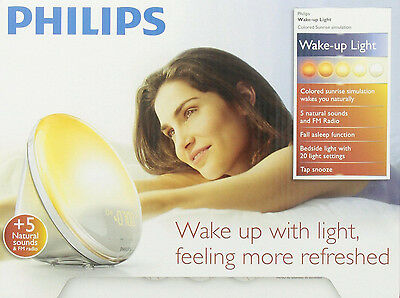 Philips HF3520 Wake-Up Light With Colored Sunrise Simulation, White BRAND NEW