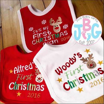 Personalised First Christmas Baby Bib, ADD ANY NAME, Embroidered Keepsake Gift