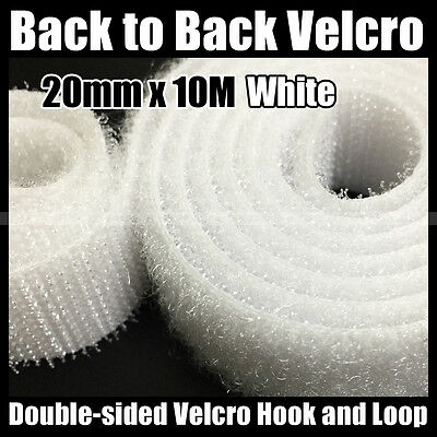 20mm × 10M White Double-sided BTB Hook & Loop Tape Cable Ties Wrap Strap Ties