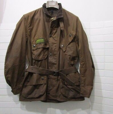 barbour international jacket waxed cotton  brown 100%authentic c46/117 XL