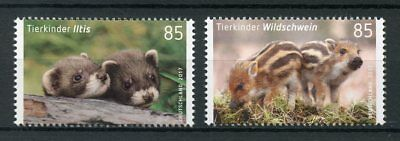 Germany 2017 MNH Baby Wild Animals Polecat Wild Boar 2v Set Stamps