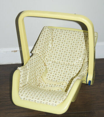 Vintage Century Kanga Rock A Roo Baby Car Seat Carrier Yellow w/ Plastic Cover