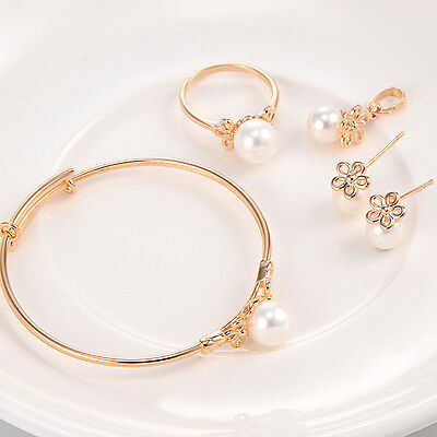 Safety Baby Toddler Shell Pearl Jewelry Set Yellow Gold Filled Children