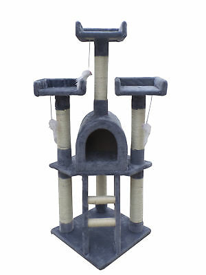 Cat Tree Scratching Post Activity Centre Bed Toys Scratcher Kitten Pet [Grey]