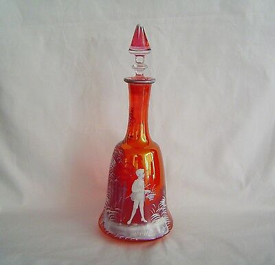 Mary Gregory Cranberry Decanter Vintage