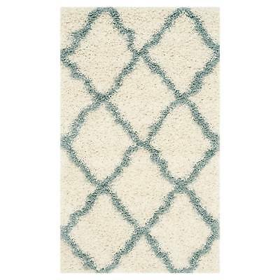 Ivory/Light Blue Geometric Shag/Flokati Loomed Area Rug - (4'X6') - Safavieh&...