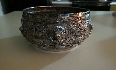 "Vintage Thai ""Songkran"" Water Festival BOWL FAIRY Repousse Engraved SIAM Silver"