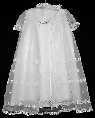Vintage Antique 3 Piece Baby Embroidered Lace Christening Baptism Dress Hat