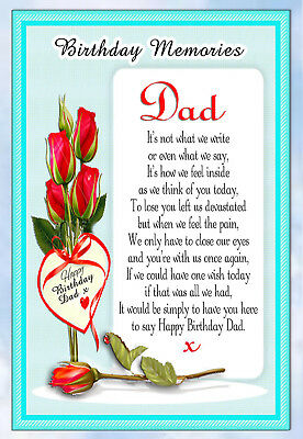 Dad Birthday Rememberance Memorial Bereavement Graveside Keepsake Card & Holder